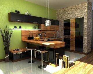 Combinatie de verde negru si lemn cu perete de piatra in bucatarie