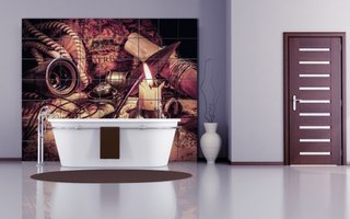 Stil vintage pentru  faianta de baie imprimata digital