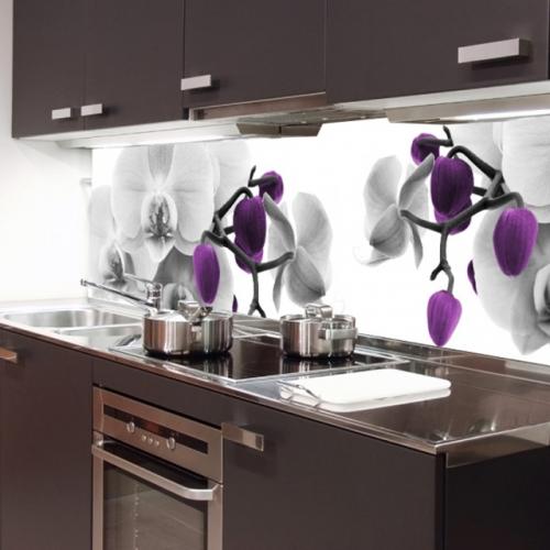 Orhidee mov si argintie decor pentru bucatarie