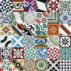 Patchwork cu placi decorative din ciment pentru pardoseli sau pereti
