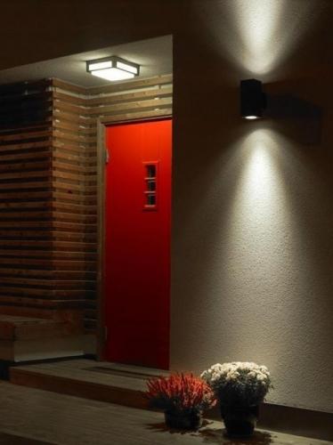 Usa rosie de exterior iluminata cu plafoniera