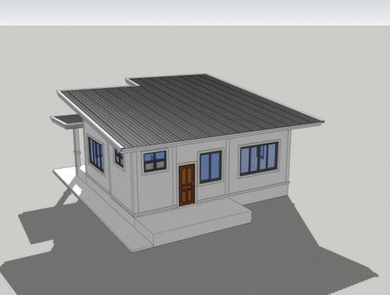 Randare 3D plan casa cu parter si 2 dormitoare