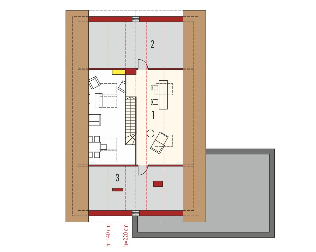 Plan mansarda casa cu garaj