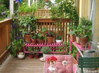 Ghivece din pamant cu flori asezate pe suporturi in balcon