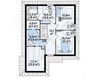 Model de casa cu scara pe mijloc