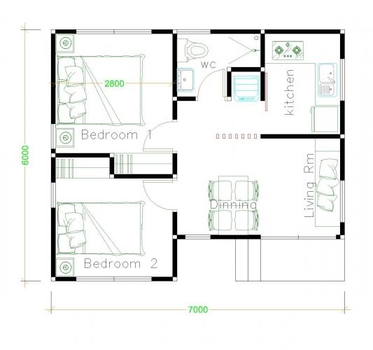 Plan casa parter cu 2 dormitoare bucatarie living si baie - 42 mp