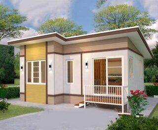 Varianta casa mica 42 mp cu acoperis plat