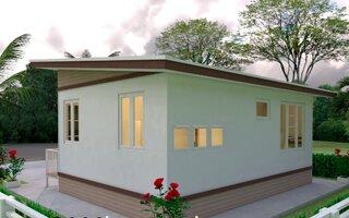 Vedere lateral spate casa 42 mp cu 2 dormitoare