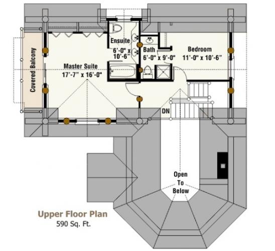 Design plan etaj cabana din busteni