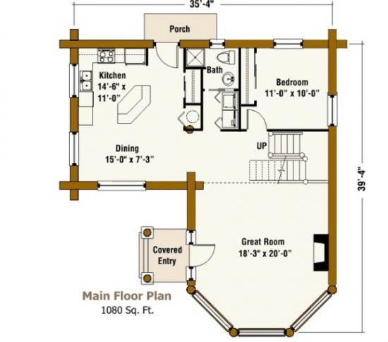 Design plan parter casa din lemn rotund