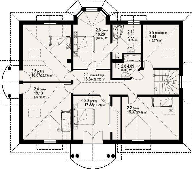 Plan etaj casa cu multe camere