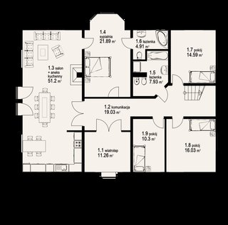 Plan parter casa cu open space