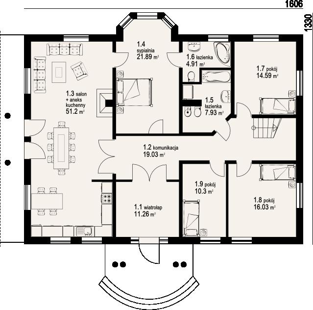 Plan parter casa cu open space
