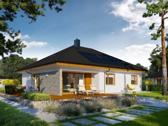 Proiect casa doar parter cu doua dormitoare si garaj dublu - special conceput pentru familiile de tineri