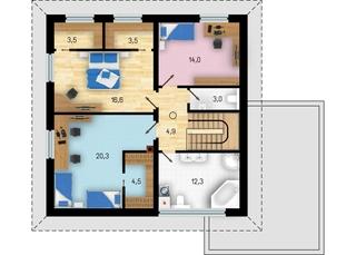 Plan etaj cu 3 dormitoare si 2 bai