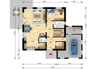Plan parter casa pasiva cu living dormitor baie si bucatarie