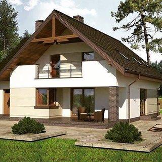 Casa cu balcon cu acoperis