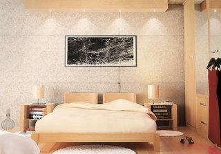 Dormitor mic cu mobilier crem