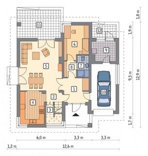Plan parter cu 3 camere