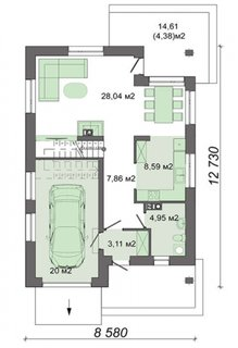 Plan parter casa cu 4 dormitoare + living
