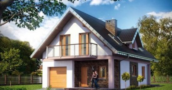 Proiect de casa cu mansarda si forma dreptunghiulara