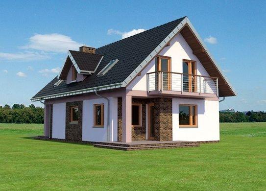 Vedere stanga casa cu 4 dormitoare