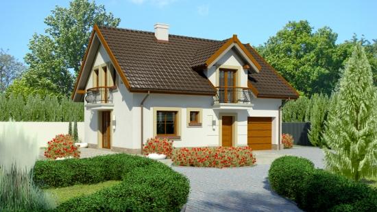 Proiect de casa cu mansarda cu 3 dormitoare si garaj integrat