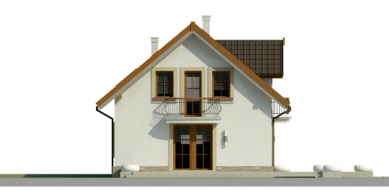 Elevatie laterala casa cu 3 dormitoare si garaj