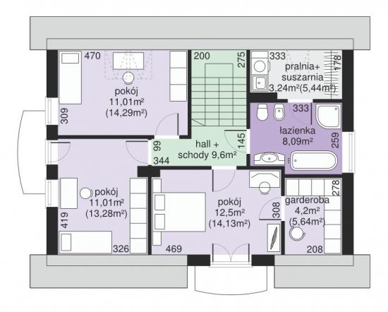 Plan etaj casa cu 3 dormitoare si garaj integrat