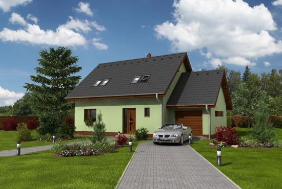 Proiect de casa cu mansarda si garaj cu suprafata utila de 110 mp