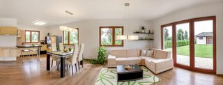 Panorama casa parter cu living si bucatarie open space