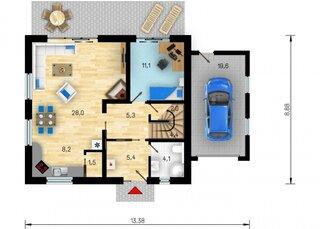 Plan parter casa 110 mp cu garaj