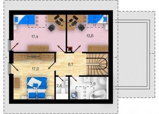 Proiect casa cu mansarda si 3 dormitoare mari