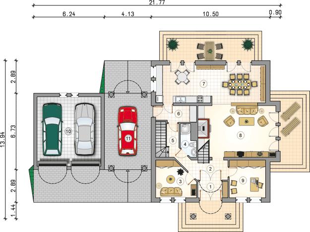 Plan parter casa cu garaj