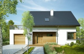 Casa eleganta cu terasa deasupra garajului