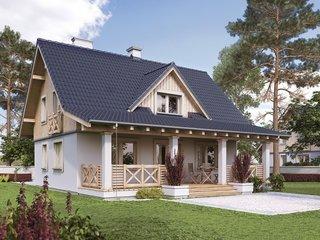 Casa cu veranda de lemn