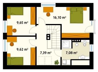 Schita mansarda cu 3 dormitoare si 1 baie