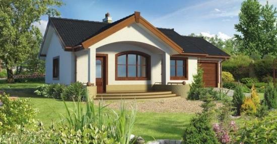 Proiect casa doua dormitoare, living, baie ,bucatarie si garaj