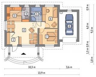 Plan casa doua dormitoare si garaj
