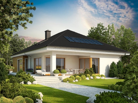 Casa fara etaj cu terasa acoperita in spate