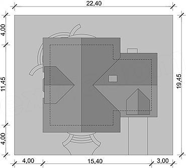 Amplasare pe teren casa cu forma de T
