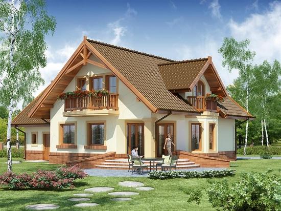 Model de casa cu mansarda si balcoane din lemn