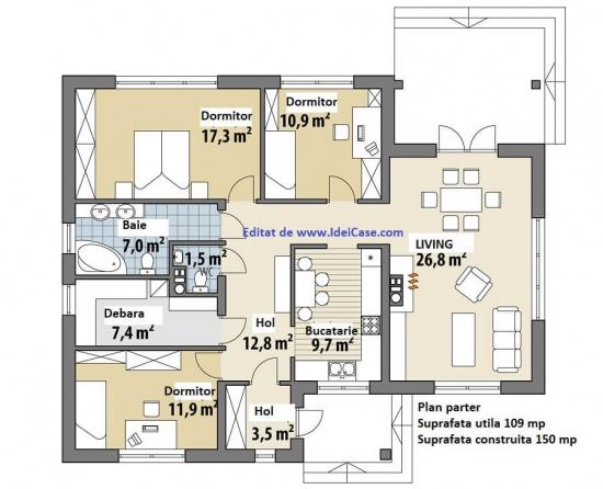 Plan parter casa suprafata utila 109 mp