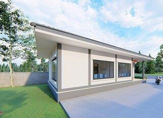 Casa cu parter si geamuri mari pe lateral