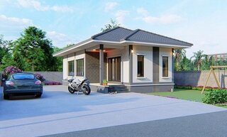Casa parter cu acoperis in 2 ape si veranda acoperita