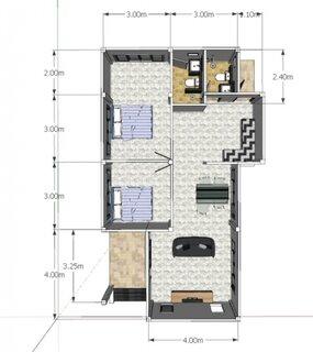Plan parter casa ingusta cu 2 dormitoare si bucatarie inchisa
