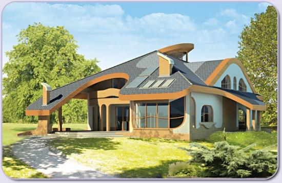 Proiect  casa mare cu 6 dormitoare - locuinta cu acoperis inedit