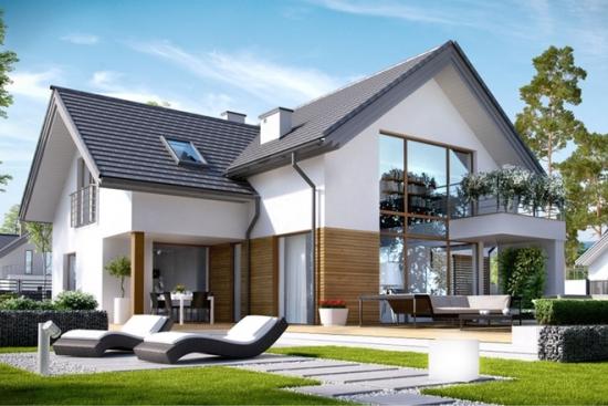 Proiect de casa medie cu garaj si mansarda for Arhitectura case cu mansarda