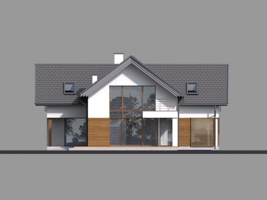 Fatada casa cu perete din sticla