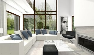 Living open space cu ferestre mari
